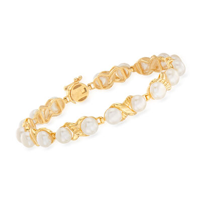 6-6.5mm Cultured Pearl Bracelet in 18kt Gold Over Sterling