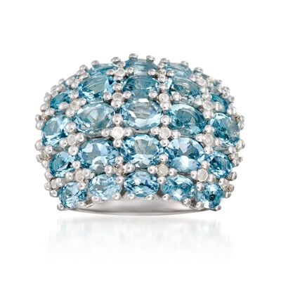 5.20 ct. t.w. Aquamarine and .36 ct. t.w. Diamond Multi-Row Ring in Sterling Silver, , default