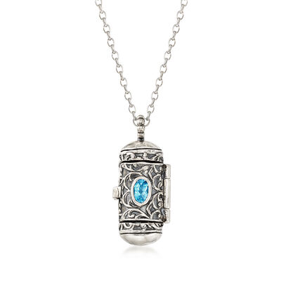 .50 ct. t.w. Blue Topaz Prayer Box Pendant Necklace in Sterling Silver, , default