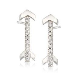 .10 ct. t.w. Diamond Arrow Earrings in 14kt White Gold, , default