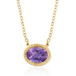 1.10 Carat Amethyst Roped Frame Necklace in 14kt Yellow Gold, , default