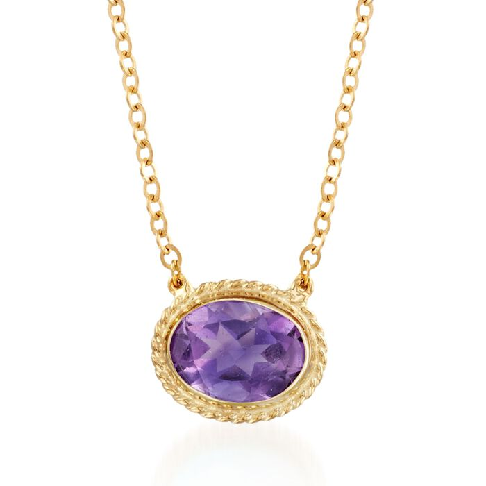 "1.10 Carat Amethyst Roped Frame Necklace in 14kt Yellow Gold. 18"", , default"