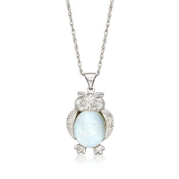 """Opal Owl Pendant Necklace With Diamond Accents in Sterling Silver. 18"""", , default"""