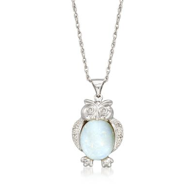 Opal Owl Pendant Necklace With Diamond Accents in Sterling Silver , , default