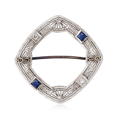 C. 1950 Vintage .40 ct. t.w. Sapphire and .10 ct. t.w. Diamond Pin in 14kt White Gold