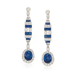 C. 2000 Vintage 6.50 ct. t.w. Sapphire and 1.30 ct. t.w. Diamond Drop Earrings in 18kt White Gold , , default