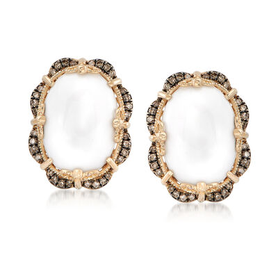 White Agate and .28 ct. t.w. Brown Diamond Frame Earrings in 14kt Yellow Gold, , default