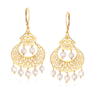 Italian 4.5-5mm Cultured Pearl Earrings in 14kt Yellow Gold, , default