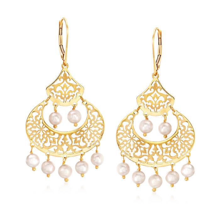 Italian 4.5-5mm Cultured Pearl Earrings in 14kt Yellow Gold