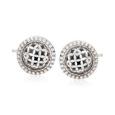Sterling Silver Openwork Circle With Bead Halo Stud Earrings, , default