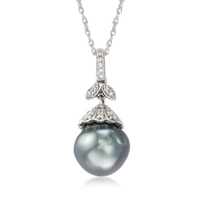 10-10.5mm Cultured Tahitian Pearl Pendant Necklace with Diamond Accents in 14kt White Gold, , default