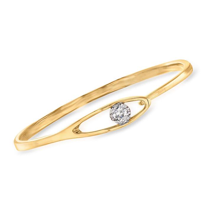 C. 2010 Vintage .64 Carat Diamond Bangle Bracelet in 14kt Yellow Gold