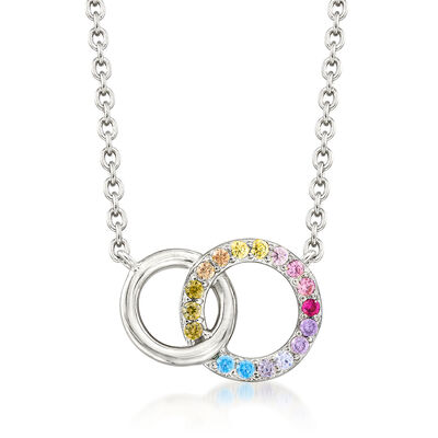 .45 ct. t.w. Multicolored CZ Interlocking Double Circle Necklace in Sterling Silver, , default