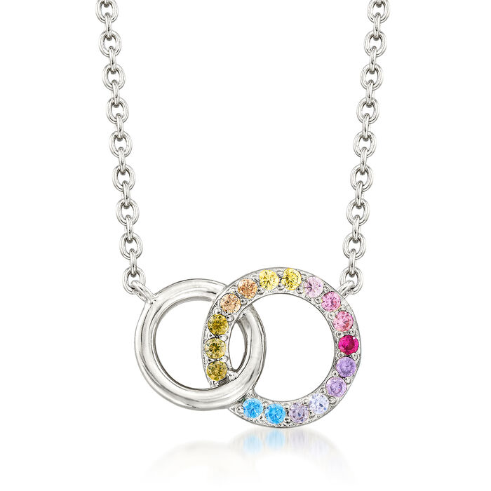 ".45 ct. t.w. Multicolored CZ Interlocking Double Circle Necklace in Sterling Silver. 16"", , default"