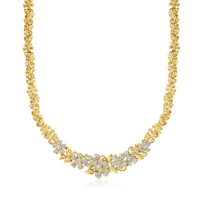 C. 1970 Vintage 2.90 ct. t.w. Diamond Floral Necklace in 18kt Yellow Gold