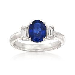 C. 2000 Vintage 1.43 Carat Ceylon Sapphire and .30 ct. t.w. Diamond Ring in Platinum, , default