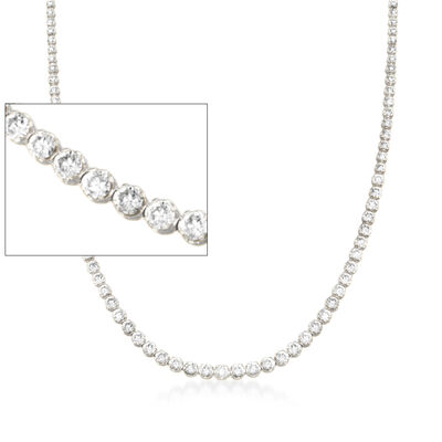15.00 ct. t.w. Graduated CZ Tennis Necklace in Sterling Silver, , default
