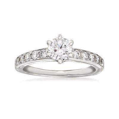 C. 1990 Vintage Tiffany Jewelry .72 ct. t.w. Diamond Ring in Platinum, , default