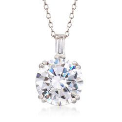 6.50 Carat Round CZ and .20 Carat Baguette CZ Pendant Necklace in Sterling Silver, , default