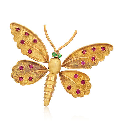 C. 1970 Vintage 1.40 ct. t.w. Ruby Butterfly Pin in 18kt Yellow Gold with Emerald Accented Eyes, , default