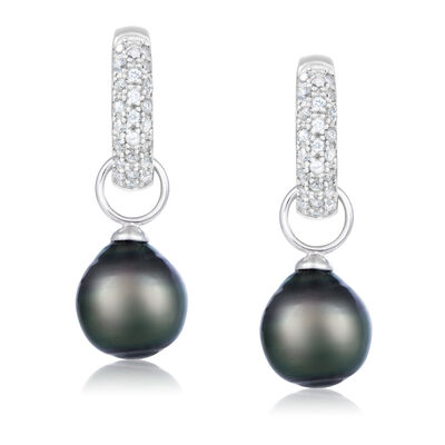9-10mm Black Cultured Tahitian Pearl and .40 ct. t.w. White Topaz Hoop Drop Earrings in Sterling Silver
