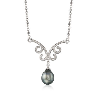 Cultured Tahitian Pearl and .60 ct. t.w. White Topaz Necklace in Sterling Silver, , default