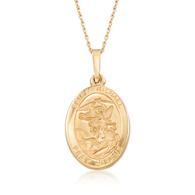 14kt Yellow Gold Saint Michael Pendant Necklace, , default