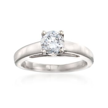 C. 2000 Vintage .90 Carat Diamond Solitaire Ring in Platinum. Size 5, , default