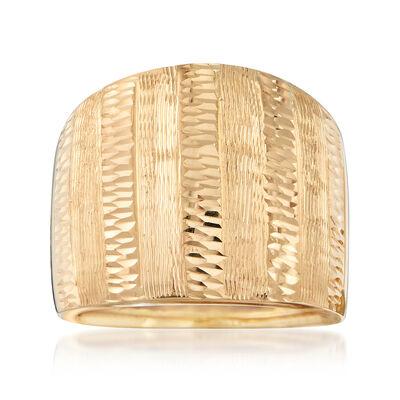 Italian 18kt Yellow Gold Diamond-Cut Ring, , default