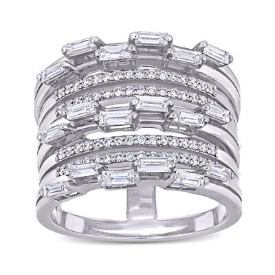 .89 ct. t.w. Baguette and Round Diamond Multi-Row Ring in 14kt White Gold