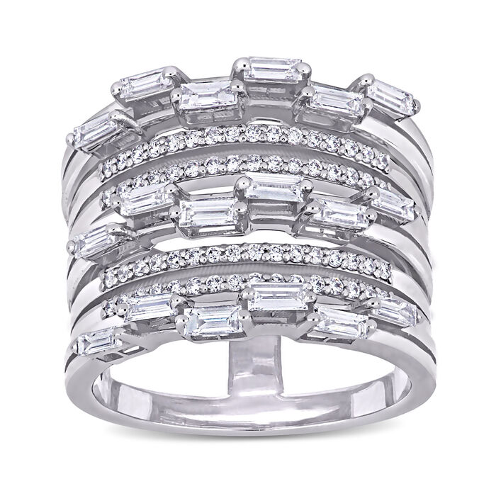 .89 ct. t.w. Baguette and Round Diamond Multi-Row Ring in 14kt White Gold. Size 6, , default