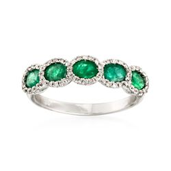 1.10 ct. t.w. Emerald Five-Stone Ring With .20 ct. t.w. Diamonds in 14kt White Gold, , default