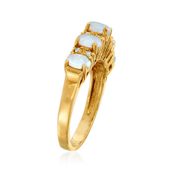 C. 1980 Vintage Opal and .12 ct. t.w. Diamond Ring in 14kt Yellow Gold. Size 7, , default