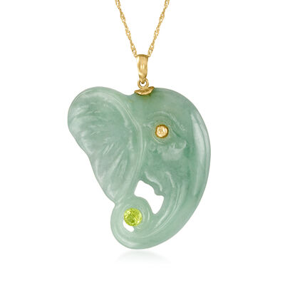 Jade Elephant Pendant Necklace with .30 Carat Peridot in 14kt Yellow Gold
