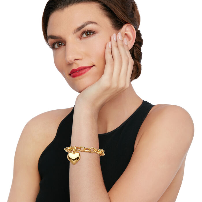 Italian Andiamo Heart Charm Bracelet in 14k Gold Over Resin