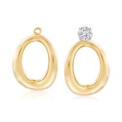 14kt Yellow Gold Puffed Oval Drop Earring Jackets, , default