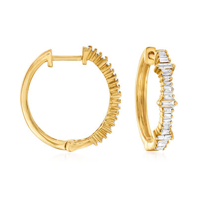 .30 ct. t.w. Diamond Baguette Hoop Earrings in 14kt Yellow Gold