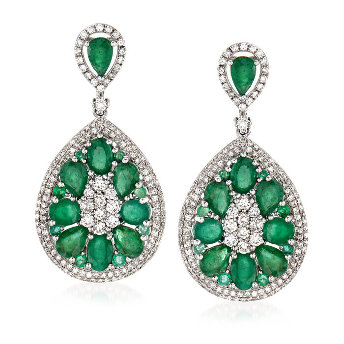 7.30 ct. t.w. Emerald and 1.65 ct. t.w. Diamond Drop Earrings in 18kt White Gold