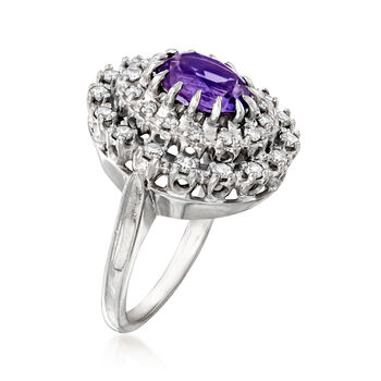 C. 1970 Vintage 1.60 Carat Amethyst and .65 ct. t.w. Diamond Ring in 14kt White Gold. Size 5.5, , default