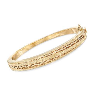 Italian 14kt Yellow Gold Leaf Motif Bangle Bracelet, , default