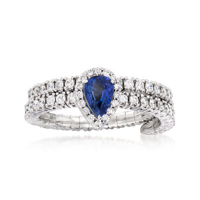 .80 ct. t.w. Diamond and .50 Carat Sapphire Wrap Ring in 18kt White Gold