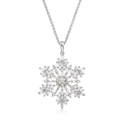 .54 ct. t.w. Diamond Snowflake Pendant Necklace in Sterling Silver