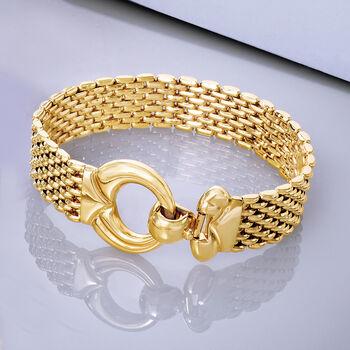 Italian 14kt Yellow Gold Wide-Link Bracelet, , default