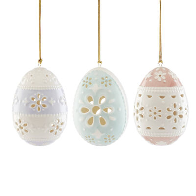 "Lenox ""Easter Eyelit"" Set of 3 Porcelain Ornaments, , default"