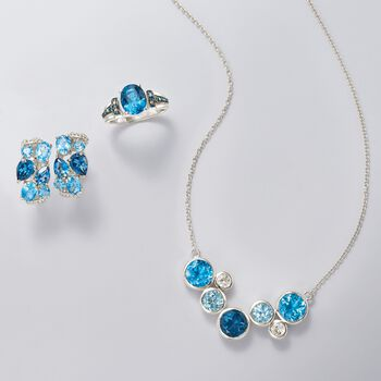 9.60 ct. t.w. Tonal Blue and White Topaz Bezel Necklace in Sterling Silver, , default
