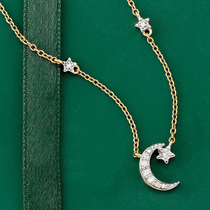 .18 ct. t.w. Diamond Moon and Star Necklace in 14kt Yellow Gold