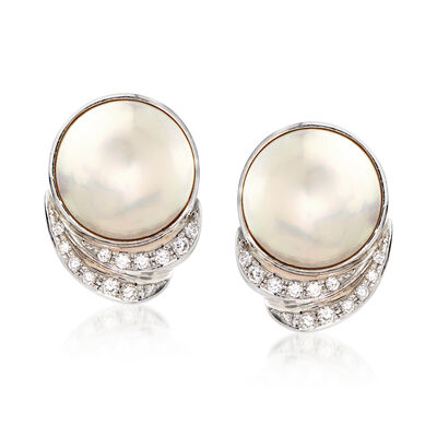 C. 1990 Vintage Tasaki Mabe Pearl and .78 ct. t.w. Diamond Clip-On Earrings in Platinum , , default