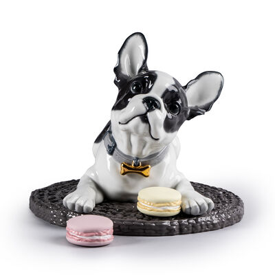 "Lladro ""French Bulldog with Macarons"" Porcelain Figurine, , default"