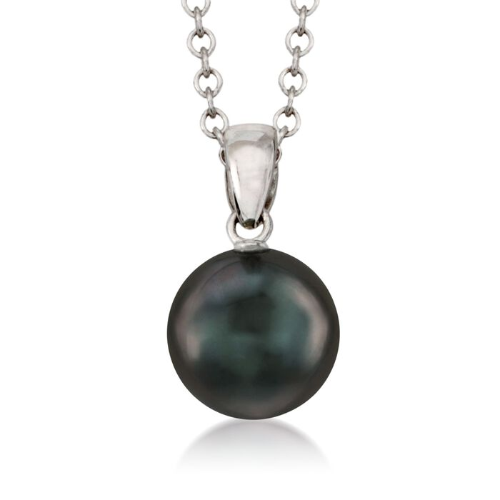 "Mikimoto 9mm Black South Sea Pearl Necklace in 18kt White Gold. 18"", , default"