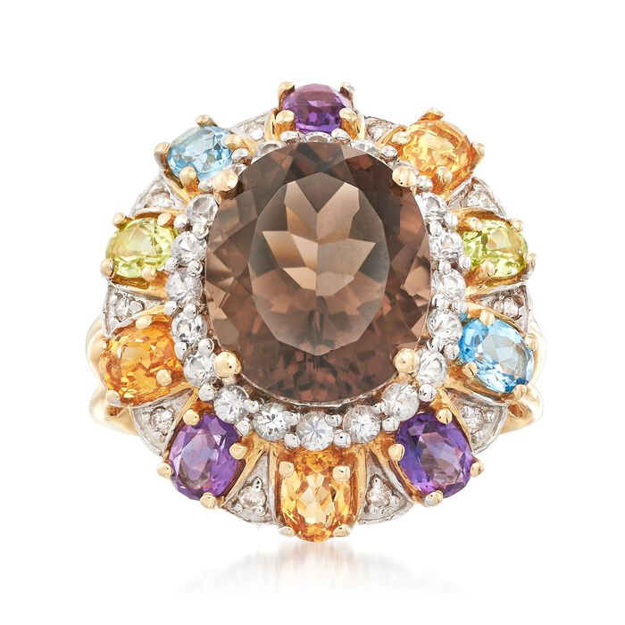 4.80 Carat Smoky Quartz and 2.20 ct. t.w. Multi-Stone Ring With Diamond Accents in 14kt Yellow Gold, , default